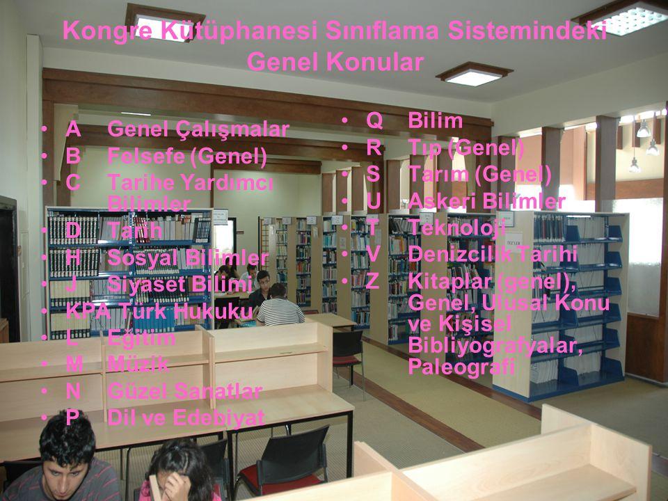 Kongre Kütüphanesi Sınıflama Sistemindeki Genel Konular