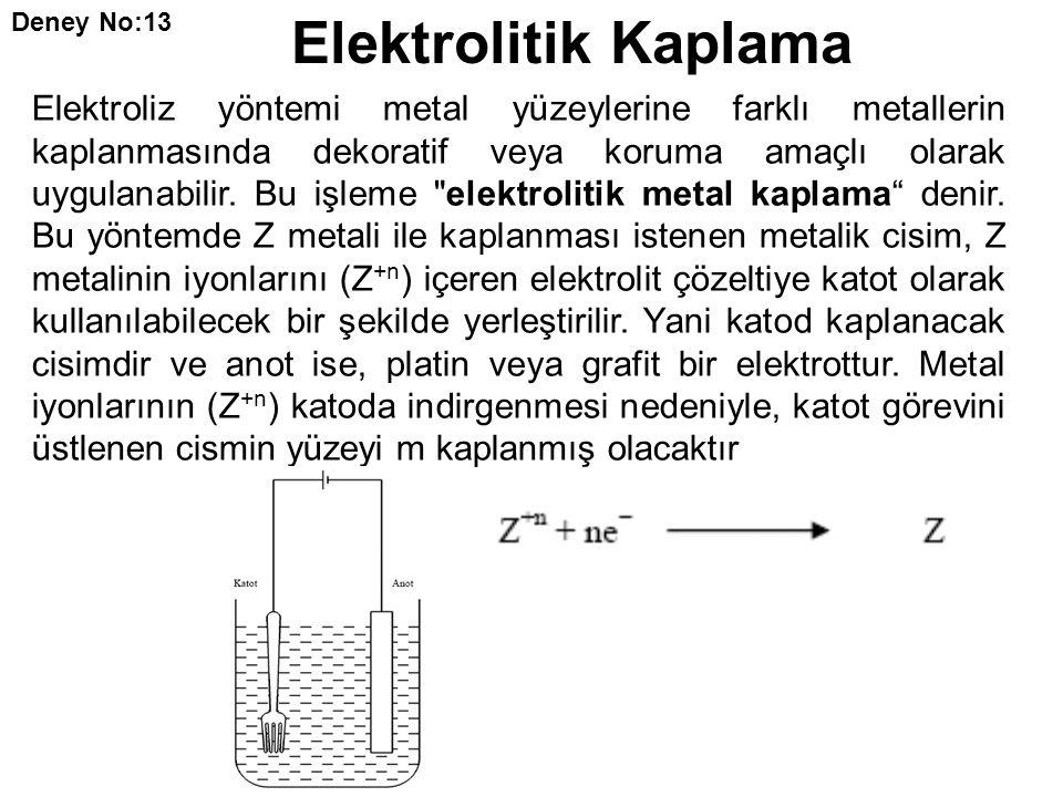 Deney No:13 Elektrolitik Kaplama.