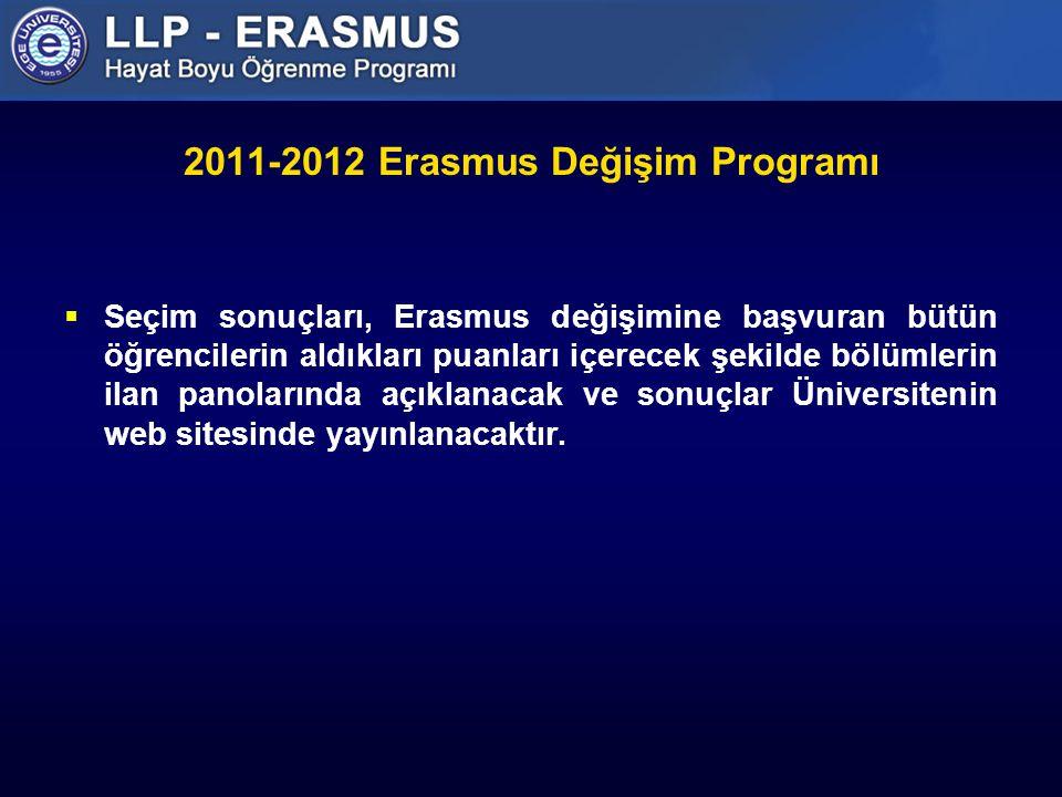2011-2012 Erasmus Değişim Programı