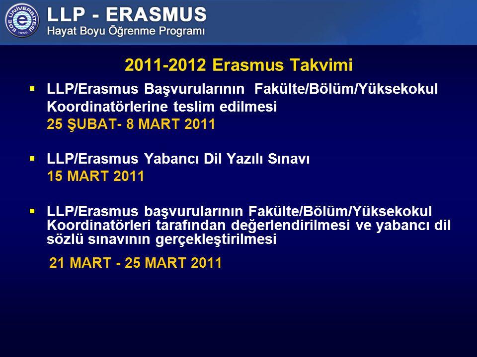 2011-2012 Erasmus Takvimi LLP/Erasmus Başvurularının Fakülte/Bölüm/Yüksekokul. Koordinatörlerine teslim edilmesi.