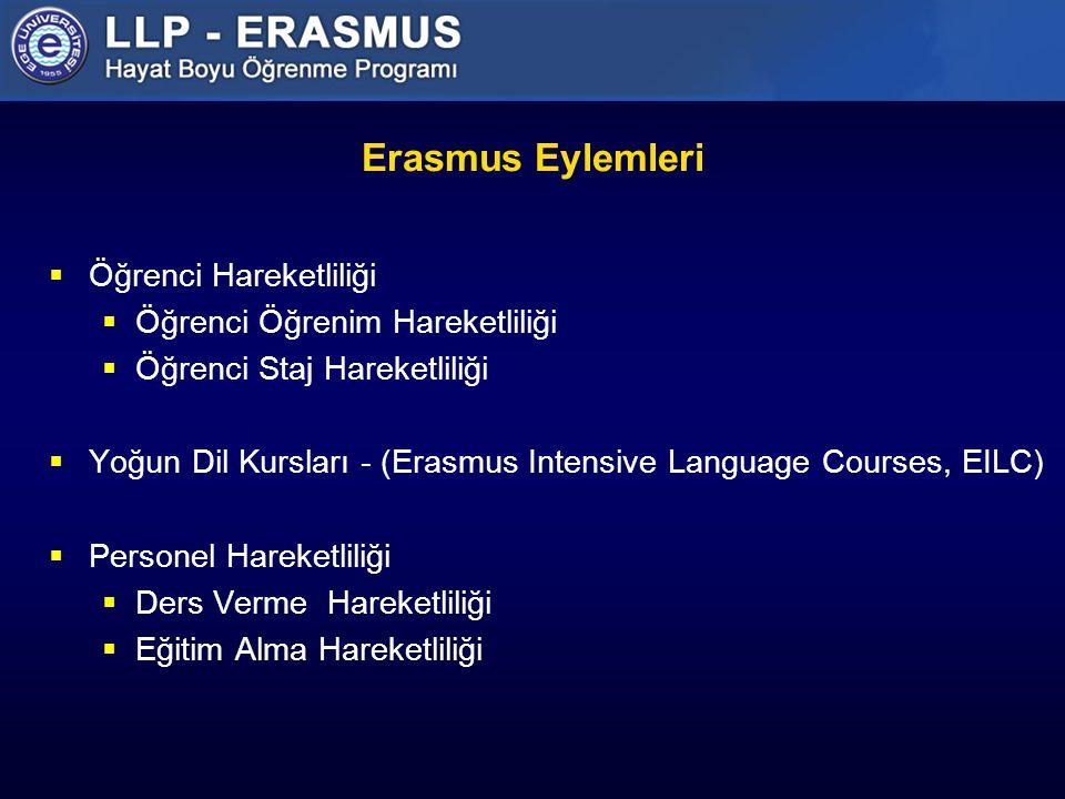 Erasmus Eylemleri Öğrenci Hareketliliği Öğrenci Öğrenim Hareketliliği