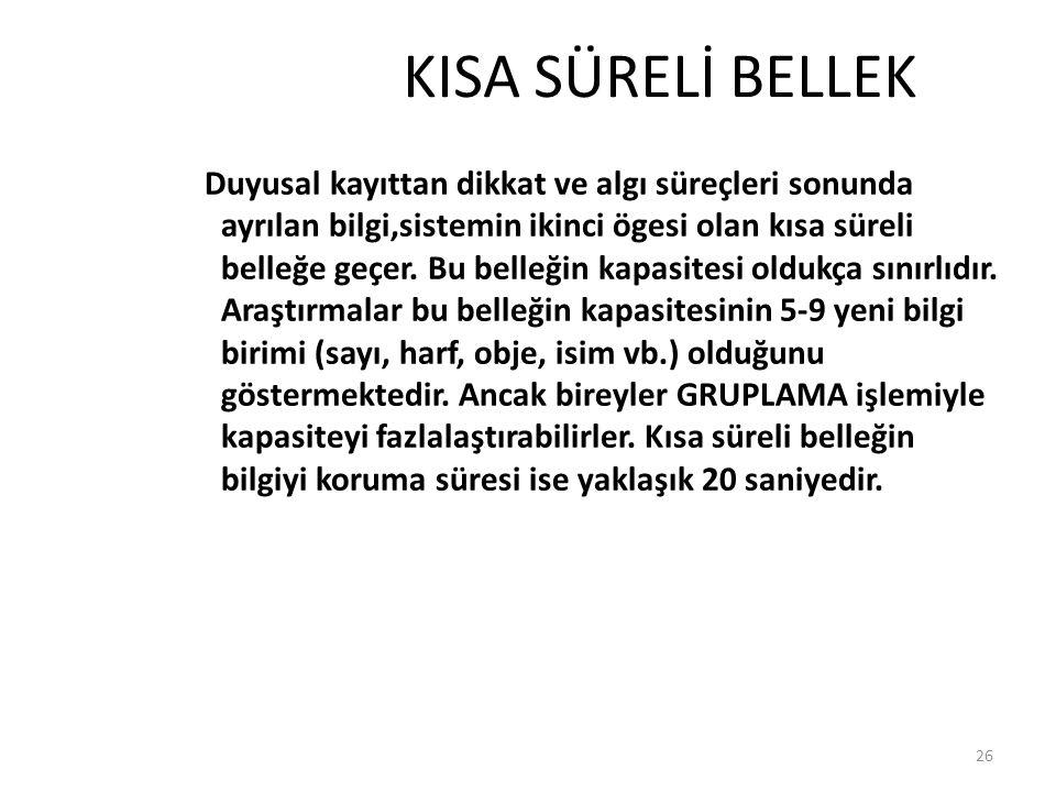 KISA SÜRELİ BELLEK