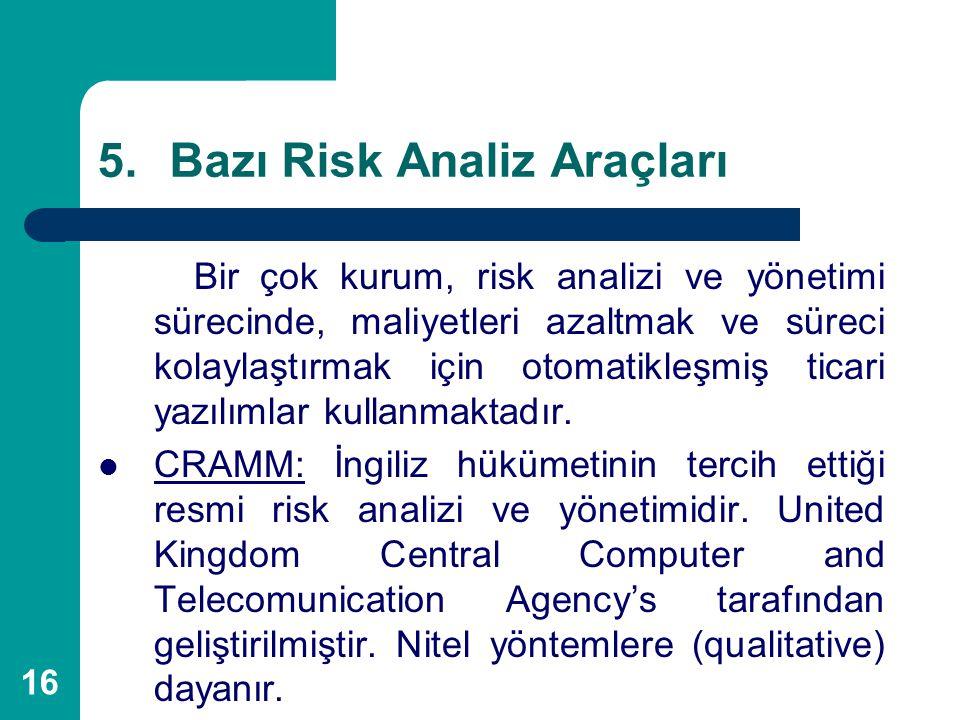 Bazı Risk Analiz Araçları