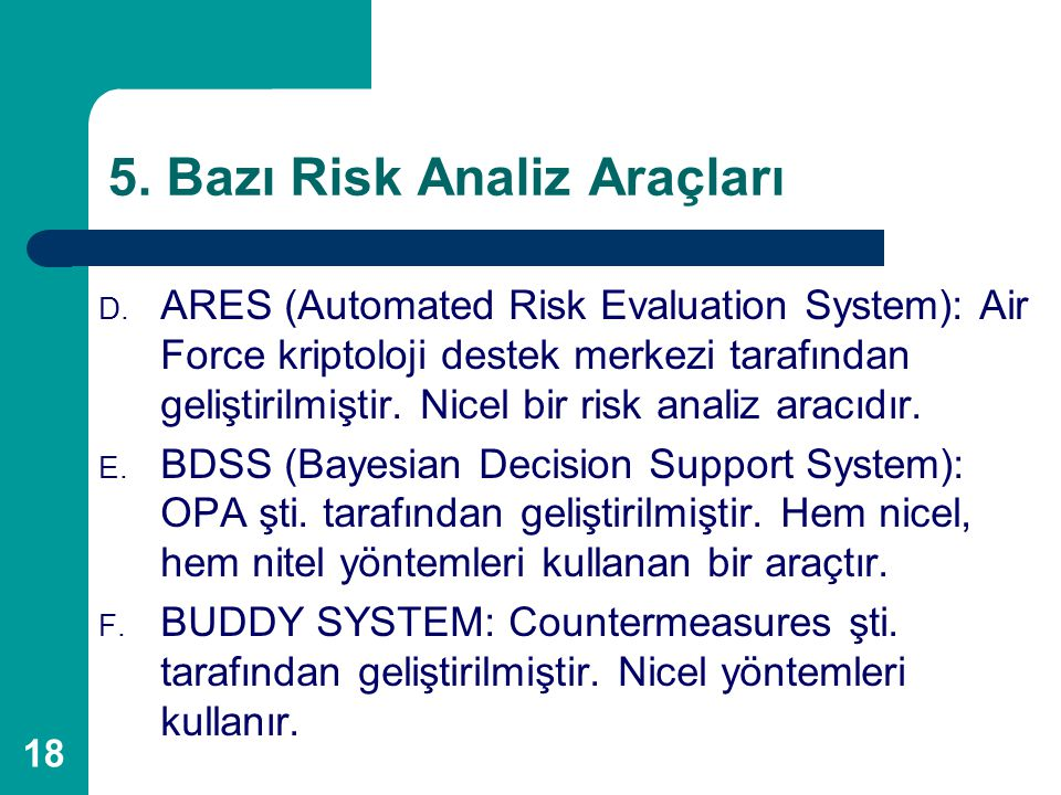 5. Bazı Risk Analiz Araçları