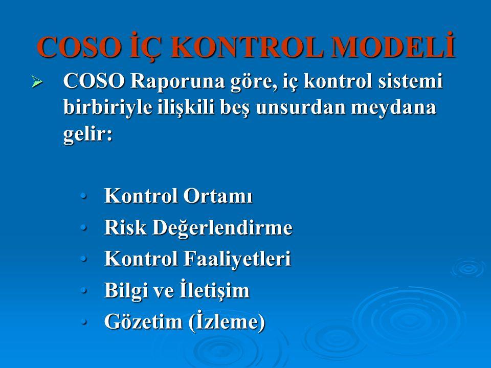 COSO İÇ KONTROL MODELİ COSO Raporuna göre, iç kontrol sistemi birbiriyle ilişkili beş unsurdan meydana gelir: