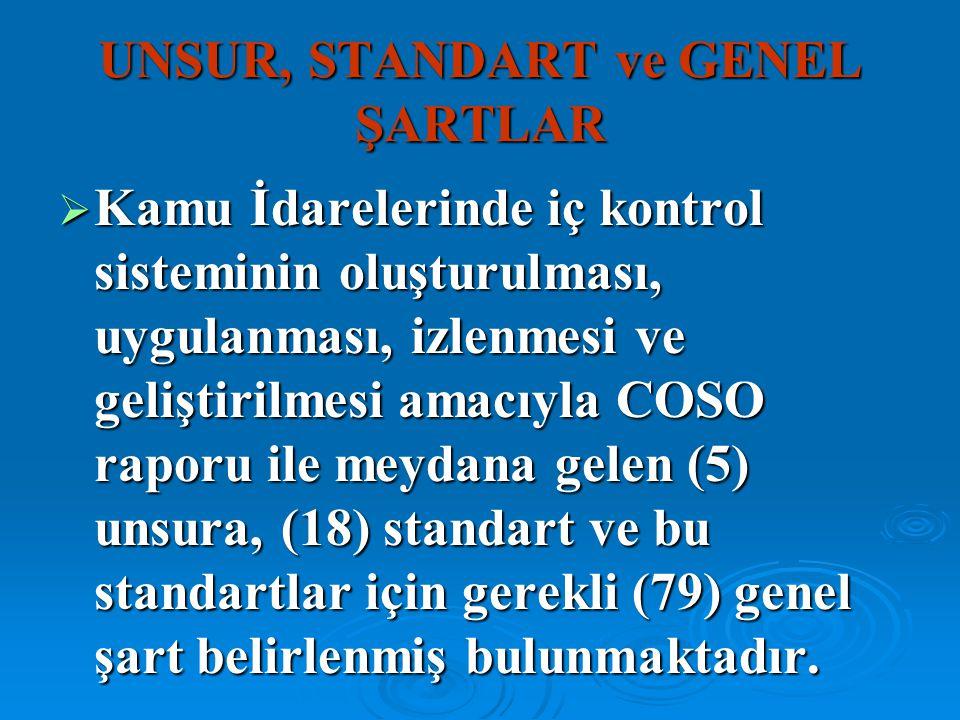 UNSUR, STANDART ve GENEL ŞARTLAR