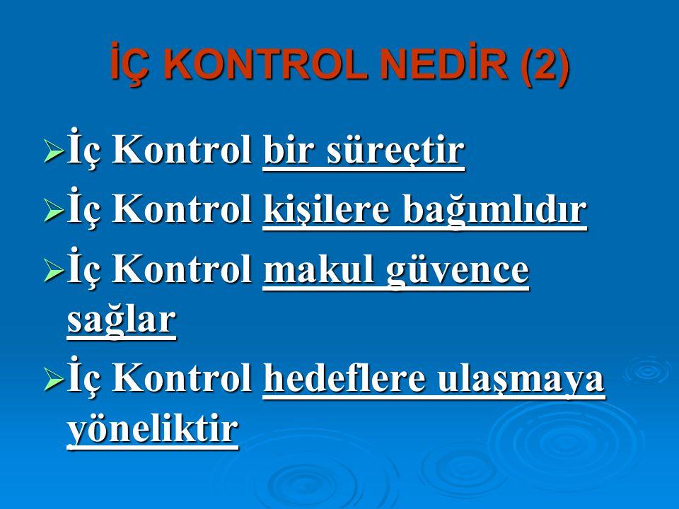 İÇ KONTROL NEDİR (2) İç Kontrol bir süreçtir. İç Kontrol kişilere bağımlıdır. İç Kontrol makul güvence sağlar.