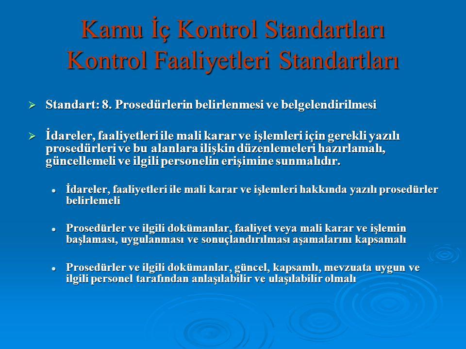 Kamu İç Kontrol Standartları Kontrol Faaliyetleri Standartları