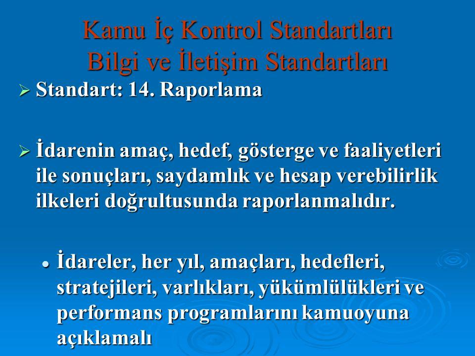 Kamu İç Kontrol Standartları Bilgi ve İletişim Standartları