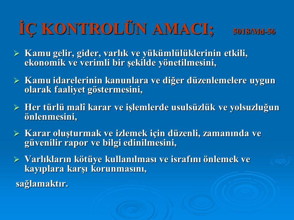 İÇ KONTROLÜN AMACI; 5018/Md-56