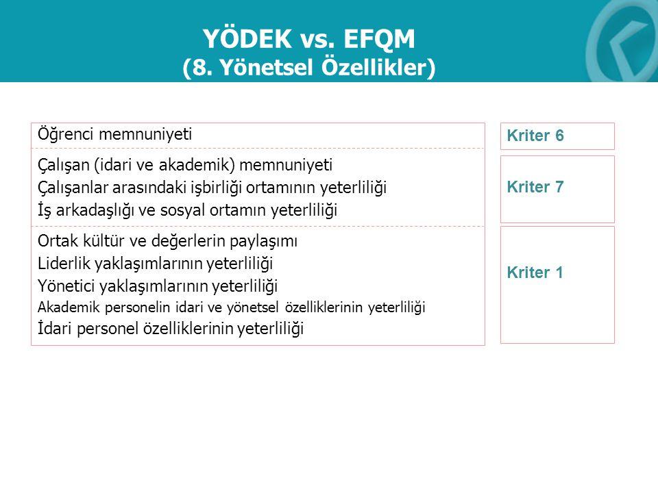 YÖDEK vs. EFQM (8. Yönetsel Özellikler)