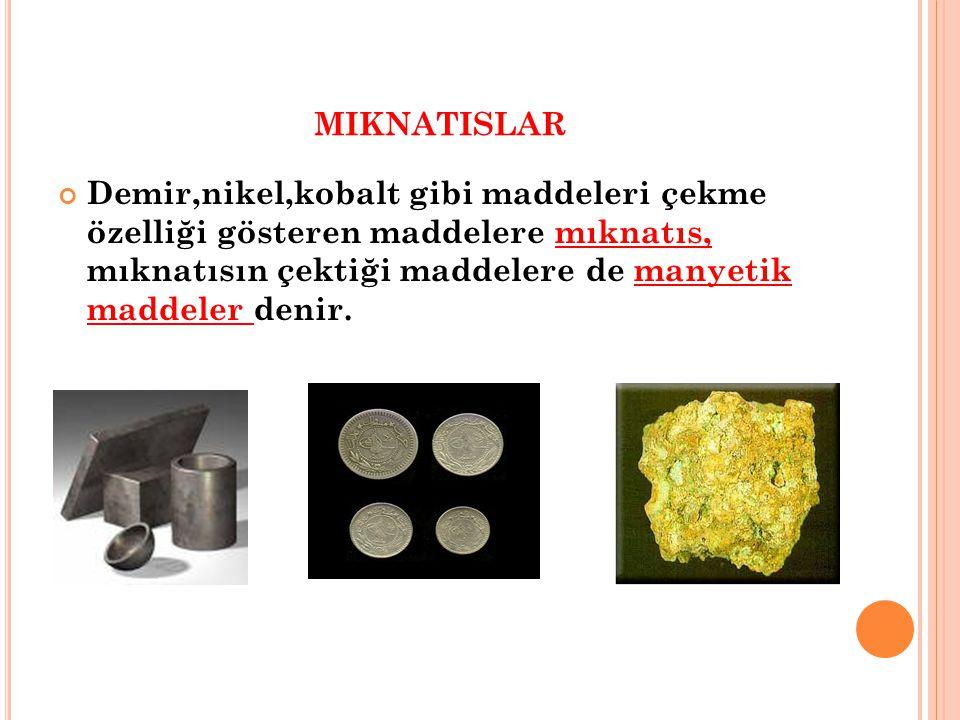 miknatislar Demir,nikel,kobalt gibi maddeleri çekme özelliği gösteren maddelere mıknatıs, mıknatısın çektiği maddelere de manyetik maddeler denir.