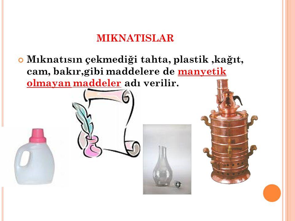 miknatislar Mıknatısın çekmediği tahta, plastik ,kağıt, cam, bakır,gibi maddelere de manyetik olmayan maddeler adı verilir.
