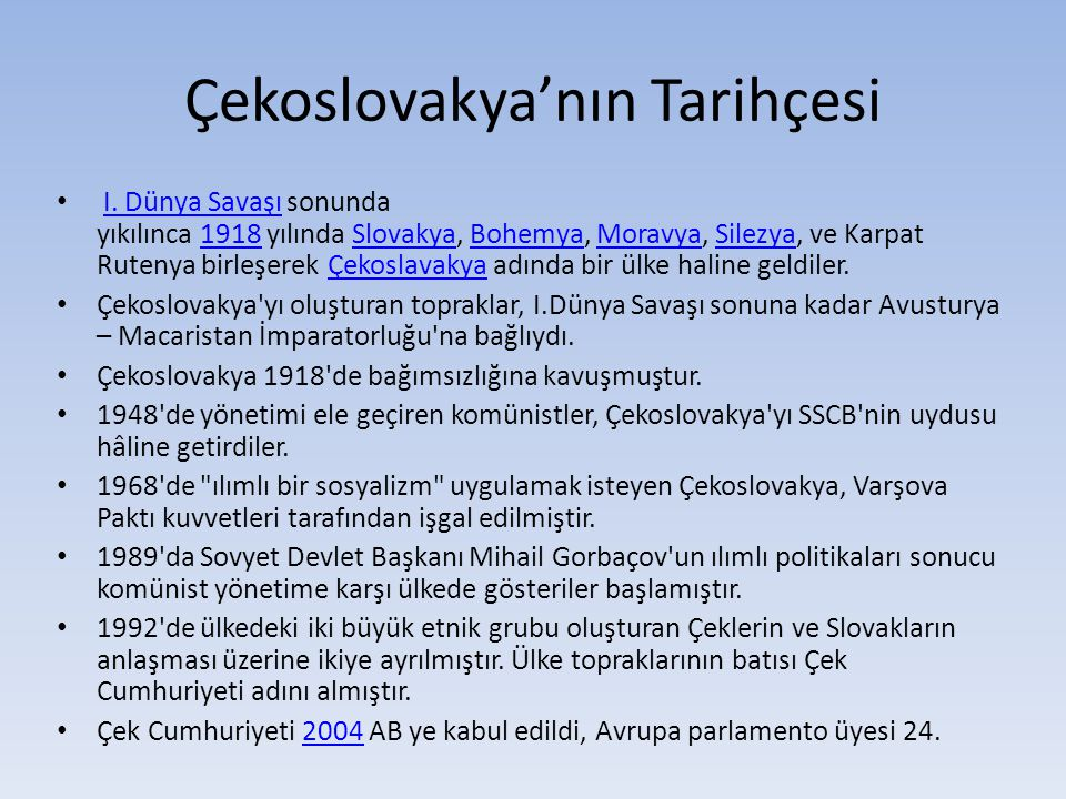 Çekoslovakya'nın Tarihçesi