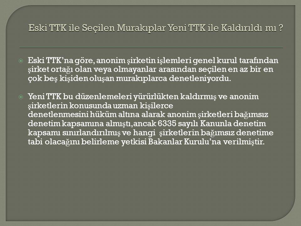 Eski TTK ile Seçilen Murakıplar Yeni TTK ile Kaldırıldı mı