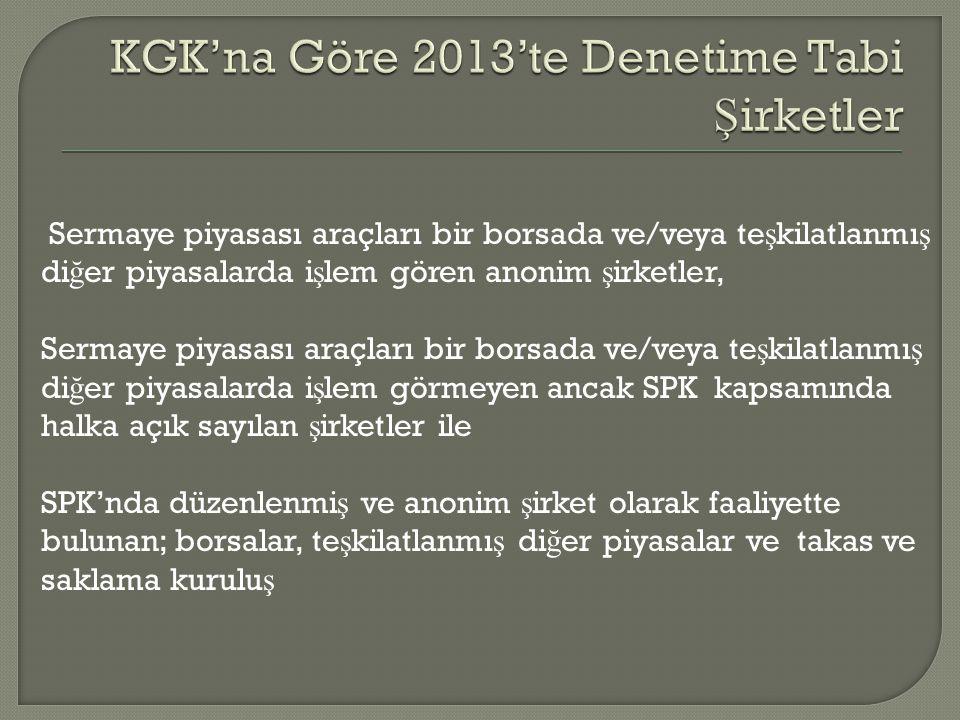 KGK'na Göre 2013'te Denetime Tabi Şirketler