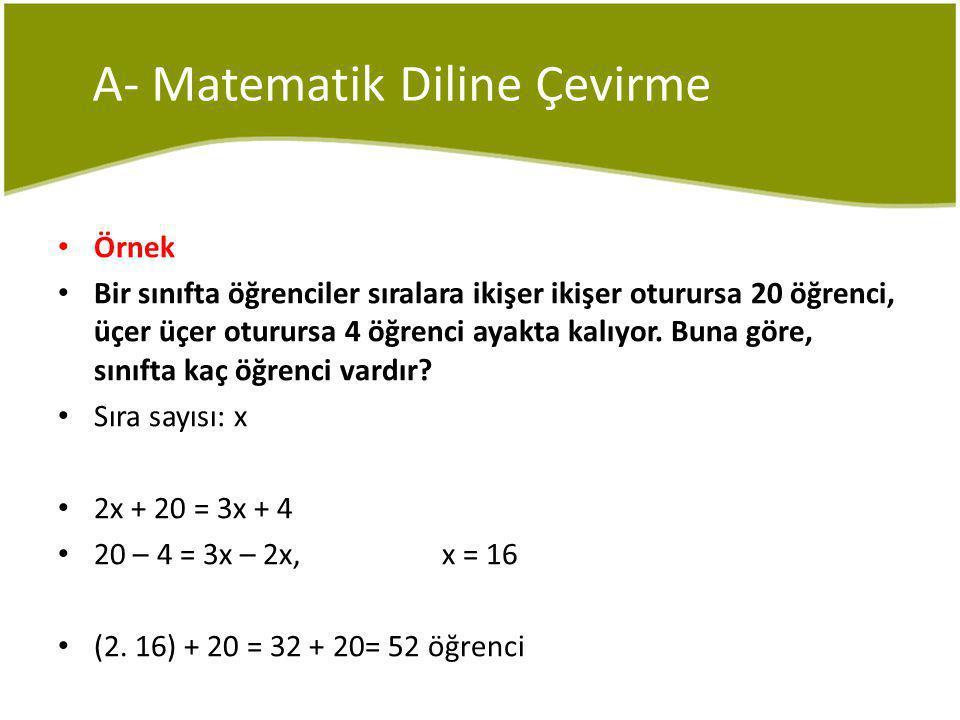 A- Matematik Diline Çevirme