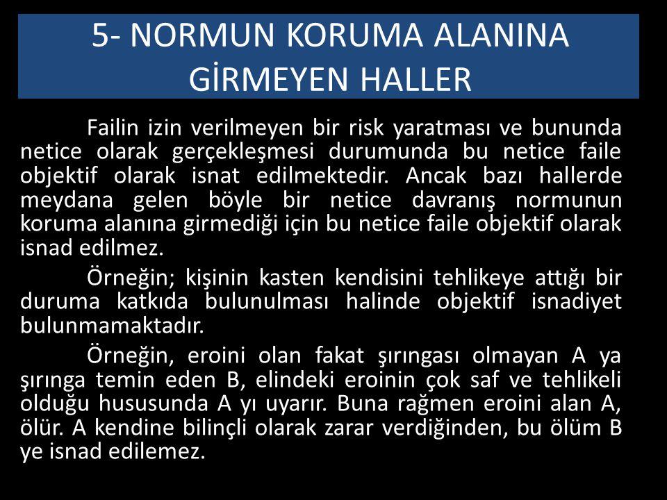 5- NORMUN KORUMA ALANINA GİRMEYEN HALLER