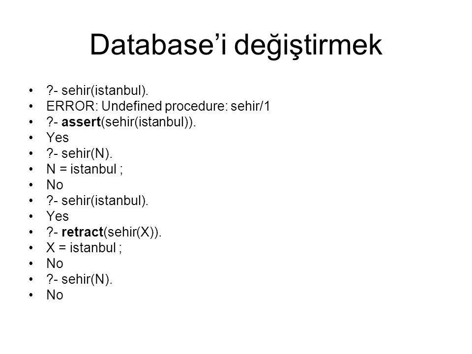 Database'i değiştirmek