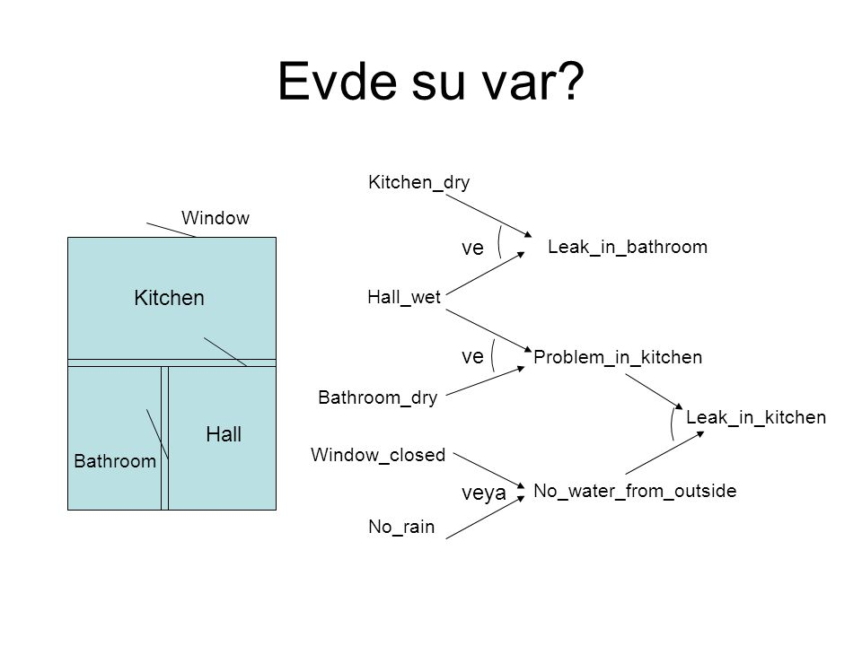 Evde su var ve Kitchen ve Hall veya Kitchen_dry Window