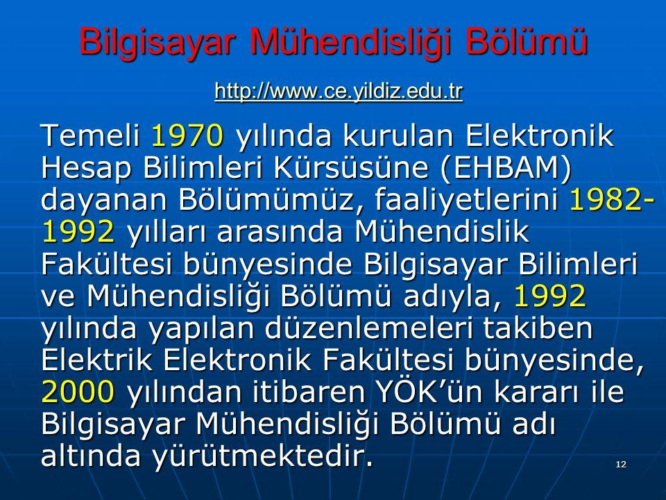 Bilgisayar Mühendisliği Bölümü http://www.ce.yildiz.edu.tr