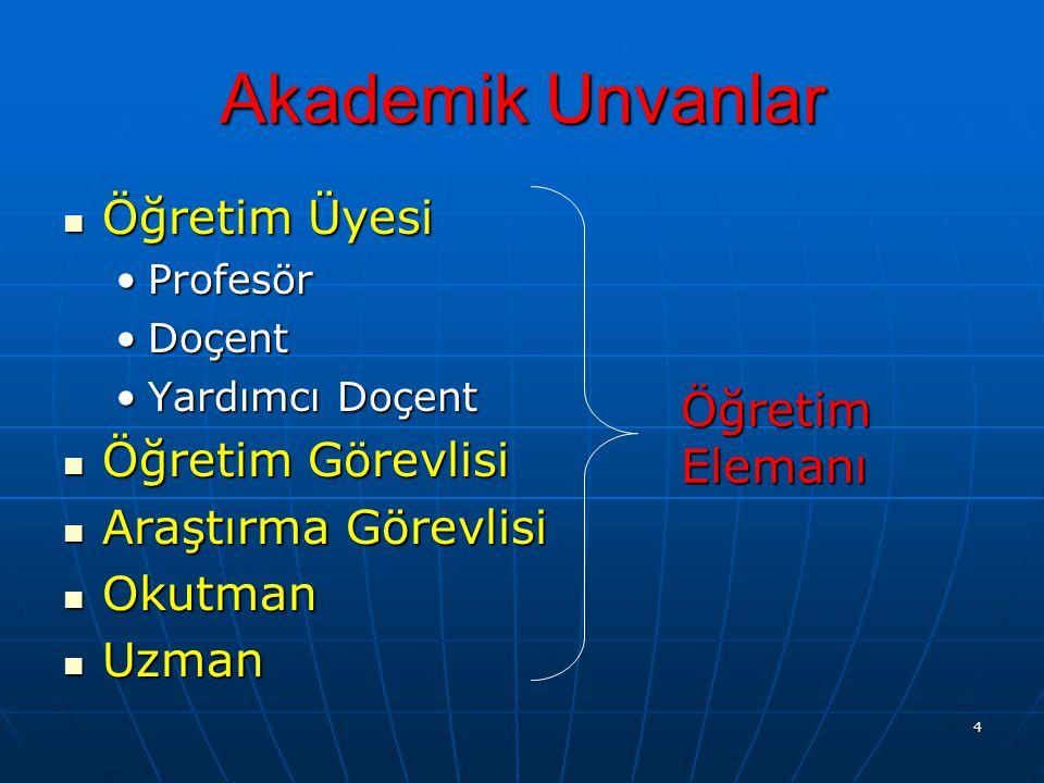 Akademik Unvanlar Öğretim Üyesi Öğretim Görevlisi Araştırma Görevlisi