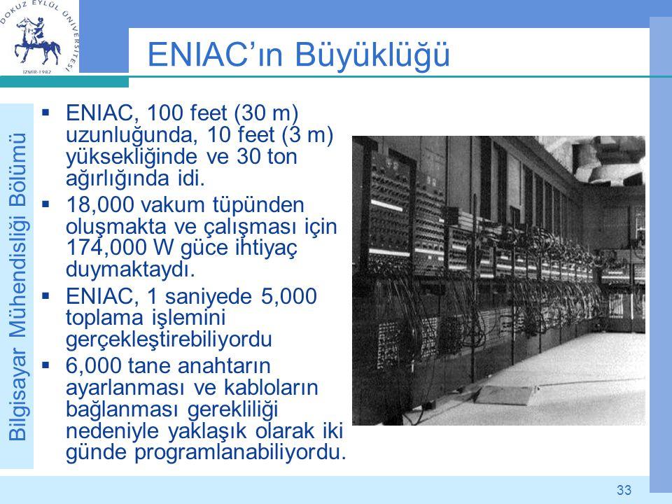 ENIAC'ın Büyüklüğü ENIAC, 100 feet (30 m) uzunluğunda, 10 feet (3 m) yüksekliğinde ve 30 ton ağırlığında idi.