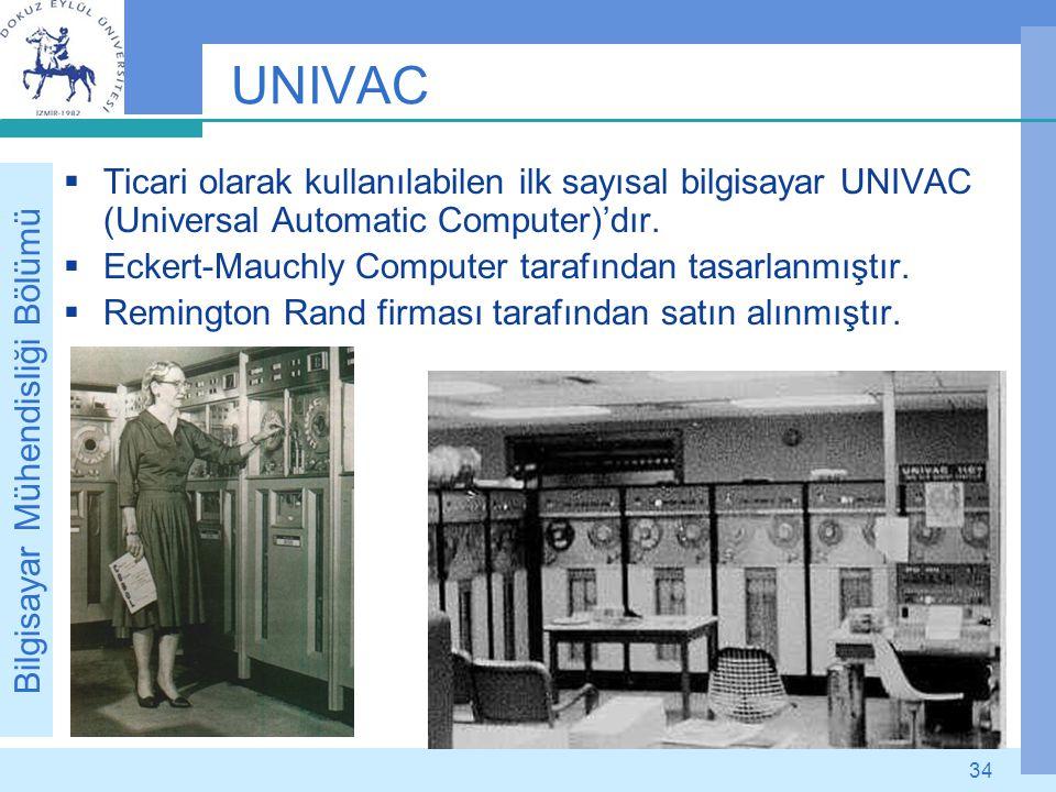 UNIVAC Ticari olarak kullanılabilen ilk sayısal bilgisayar UNIVAC (Universal Automatic Computer)'dır.