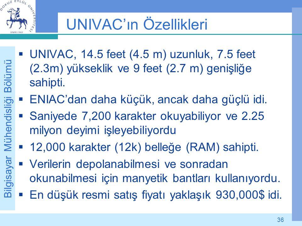 UNIVAC'ın Özellikleri