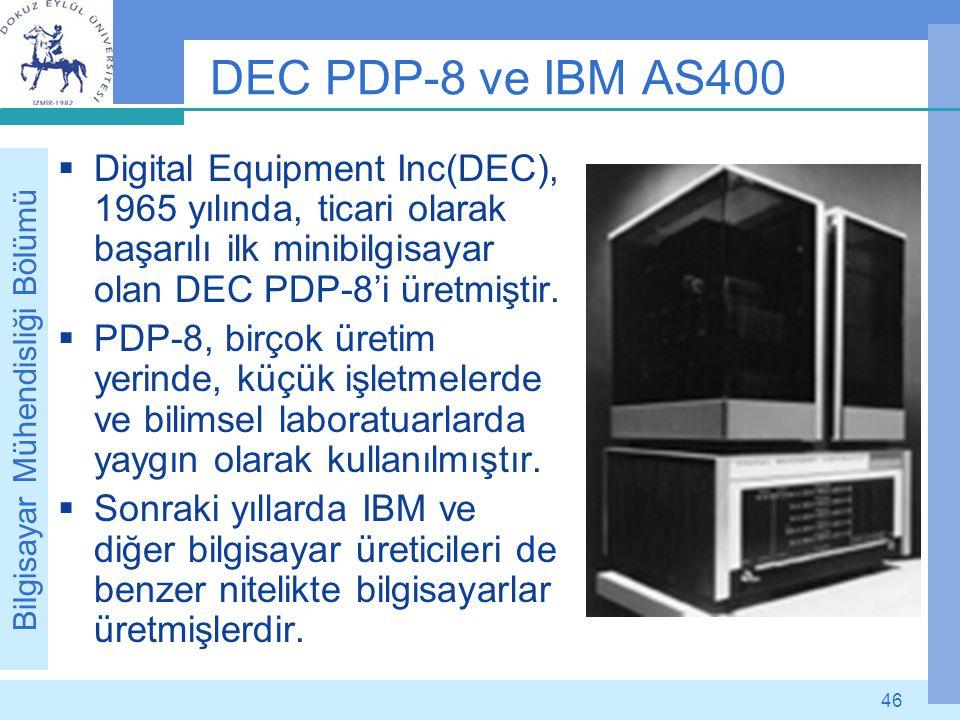 DEC PDP-8 ve IBM AS400 Digital Equipment Inc(DEC), 1965 yılında, ticari olarak başarılı ilk minibilgisayar olan DEC PDP-8'i üretmiştir.
