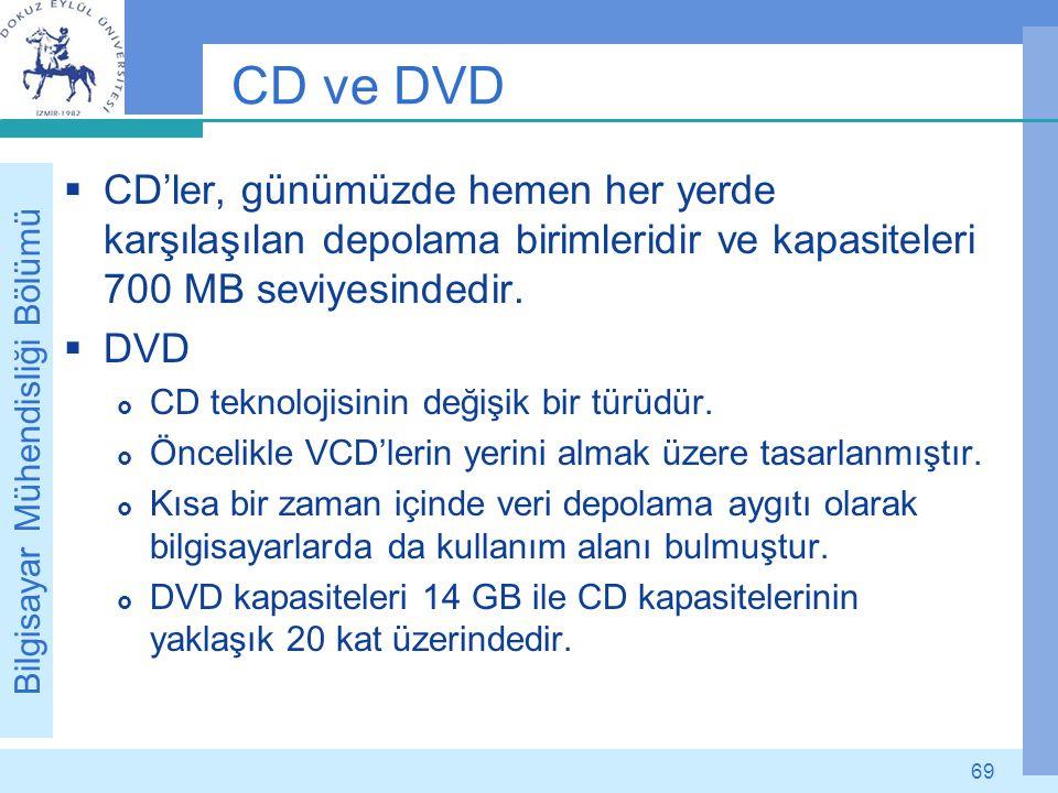 CD ve DVD CD'ler, günümüzde hemen her yerde karşılaşılan depolama birimleridir ve kapasiteleri 700 MB seviyesindedir.