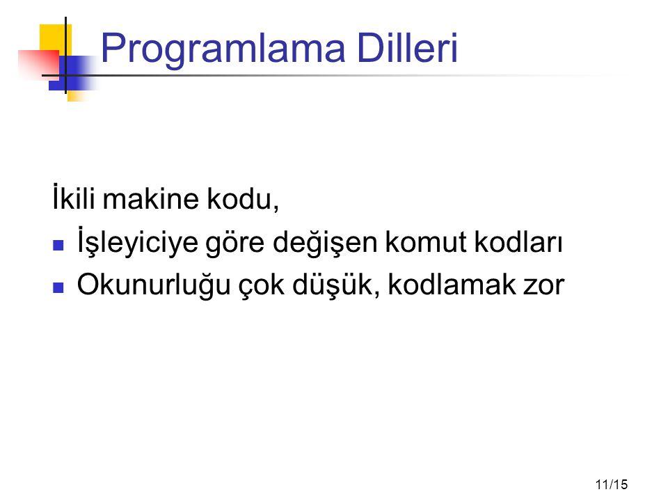 Programlama Dilleri Assembly