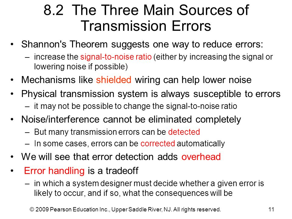 8.2 The Three Main Sources of Transmission Errors
