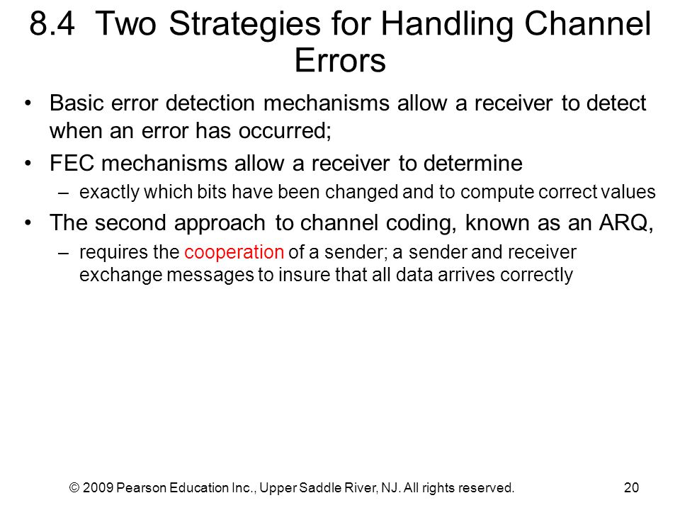 8.4 Two Strategies for Handling Channel Errors