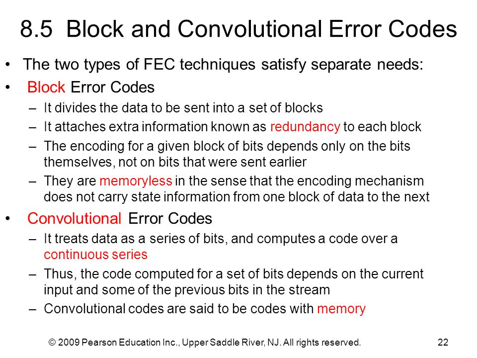 8.5 Block and Convolutional Error Codes