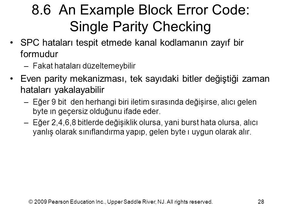 8.6 An Example Block Error Code: Single Parity Checking