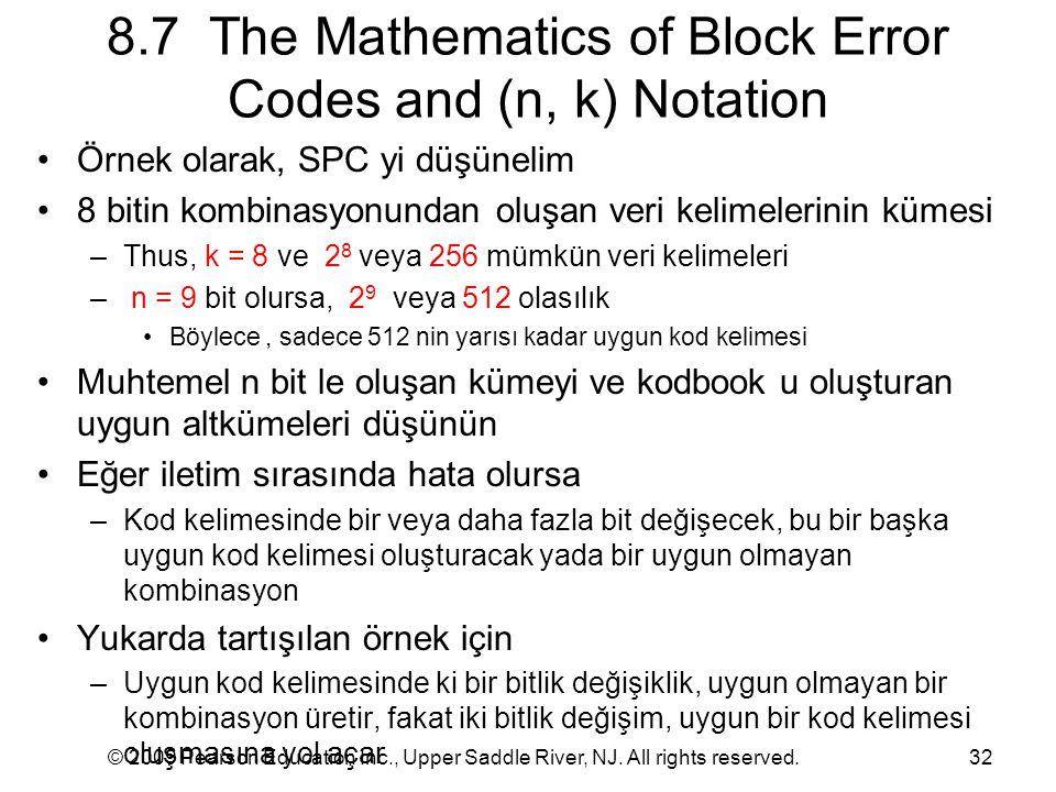 8.7 The Mathematics of Block Error Codes and (n, k) Notation