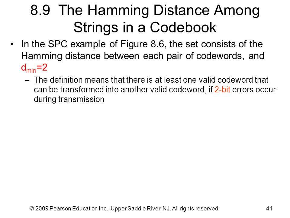 8.9 The Hamming Distance Among Strings in a Codebook