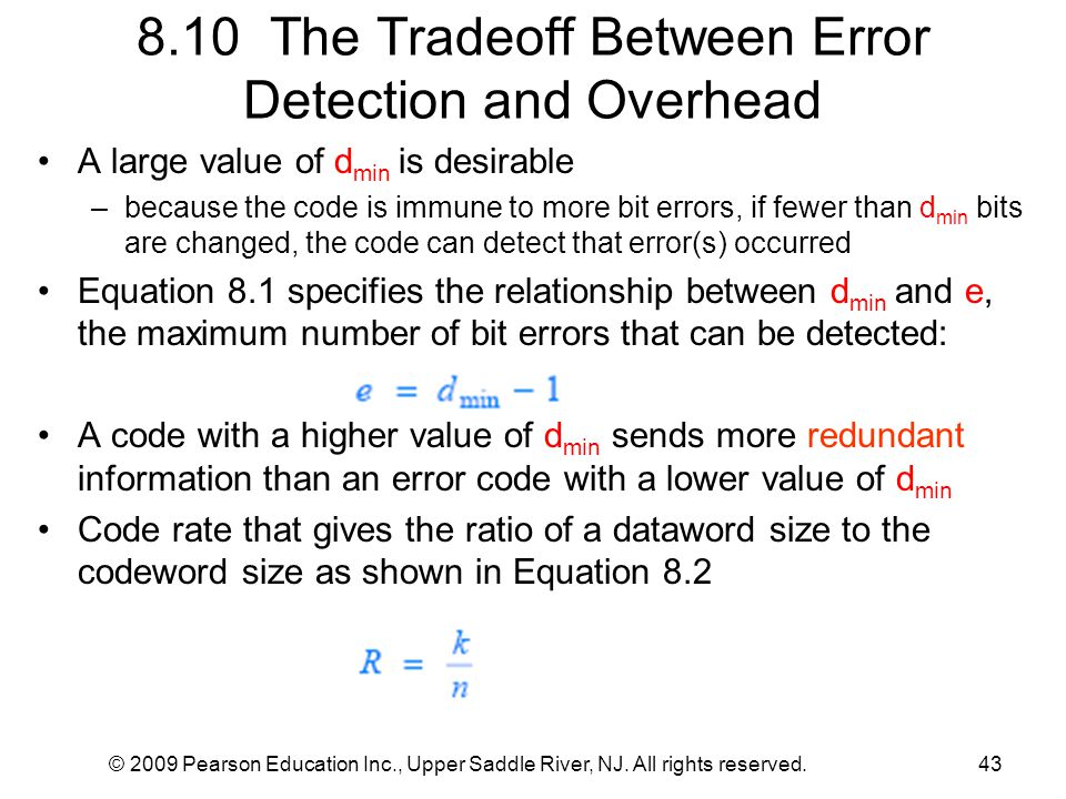 8.10 The Tradeoff Between Error Detection and Overhead