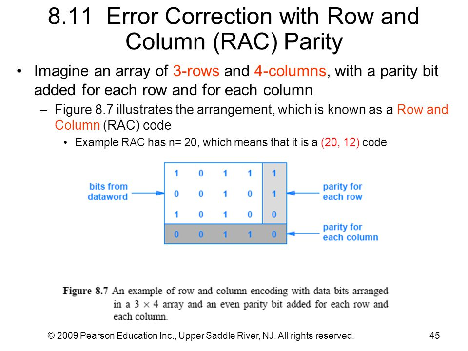 8.11 Error Correction with Row and Column (RAC) Parity