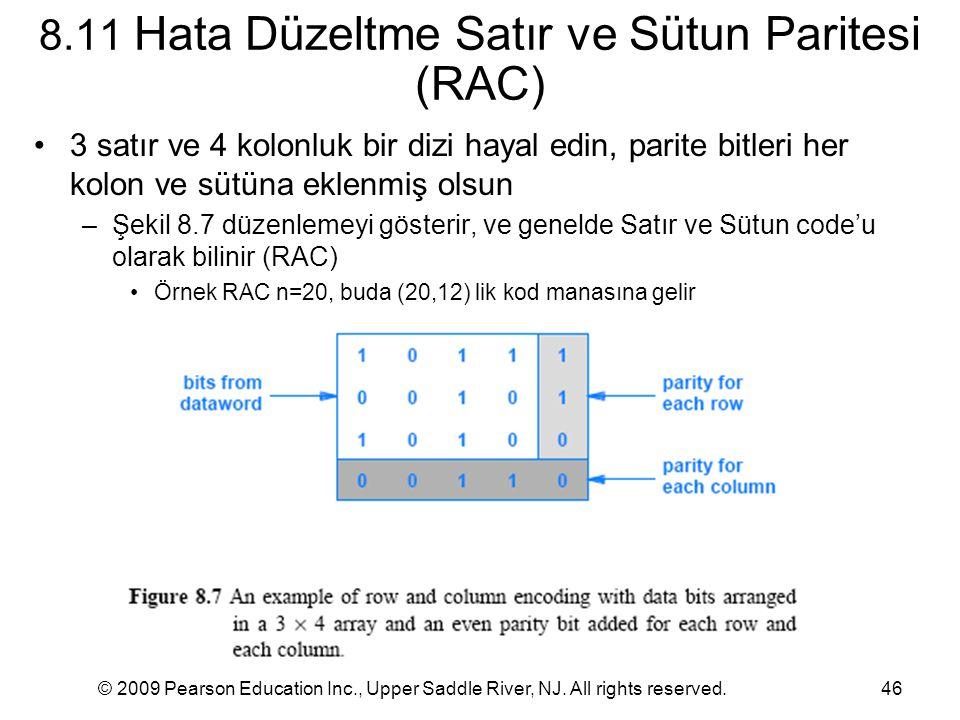 8.11 Hata Düzeltme Satır ve Sütun Paritesi (RAC)