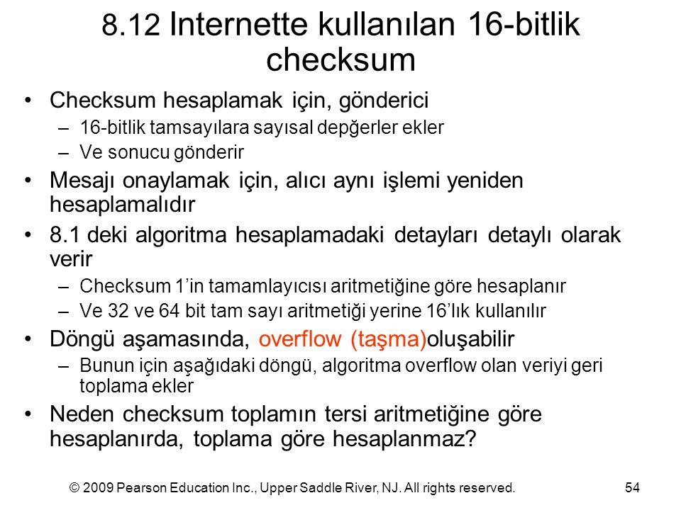 8.12 Internette kullanılan 16-bitlik checksum