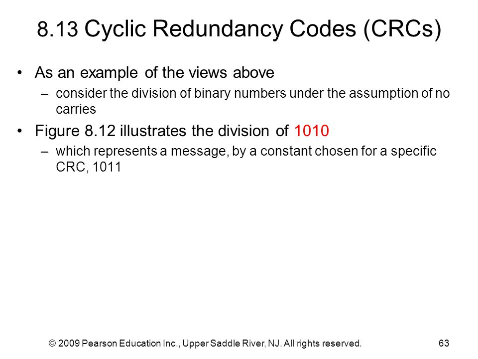 8.13 Cyclic Redundancy Codes (CRCs)