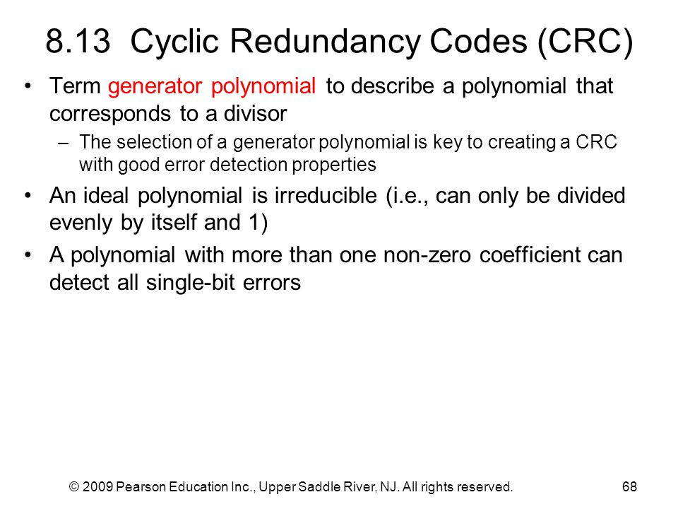 8.13 Cyclic Redundancy Codes (CRC)
