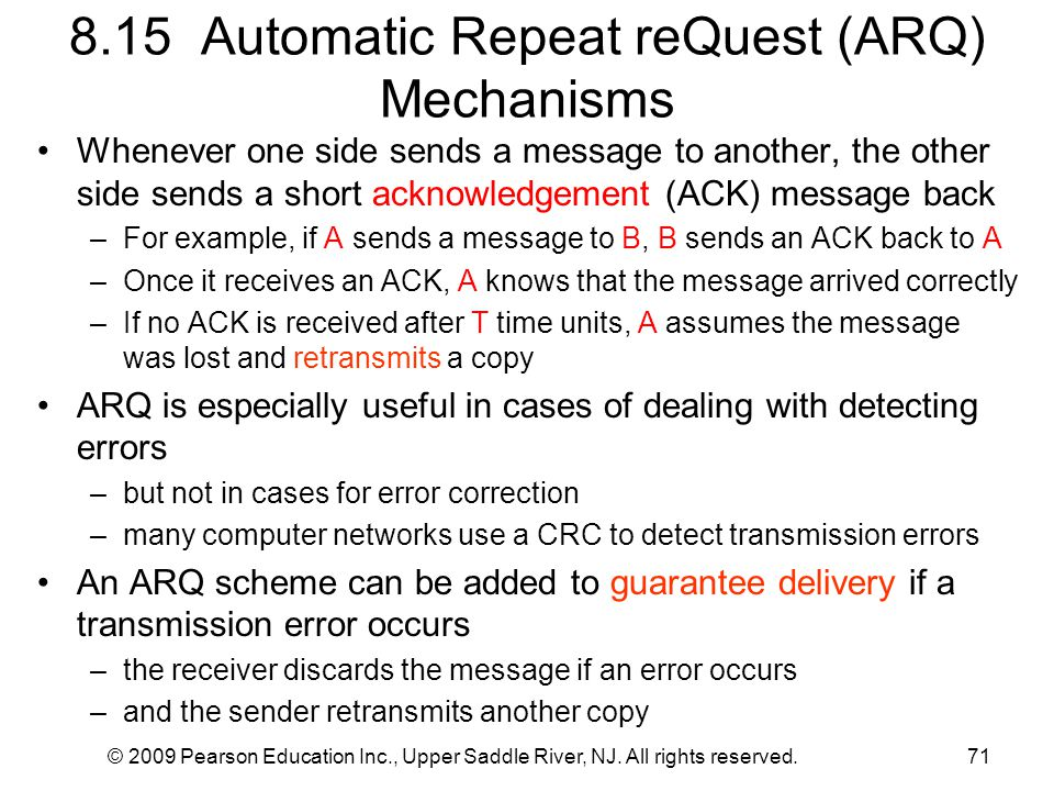 8.15 Automatic Repeat reQuest (ARQ) Mechanisms
