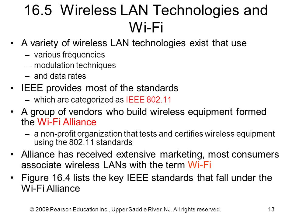 16.5 Wireless LAN Technologies and Wi-Fi