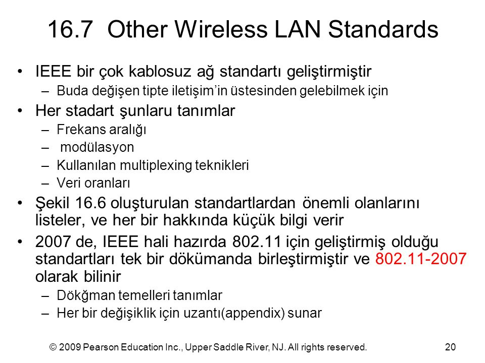 16.7 Other Wireless LAN Standards