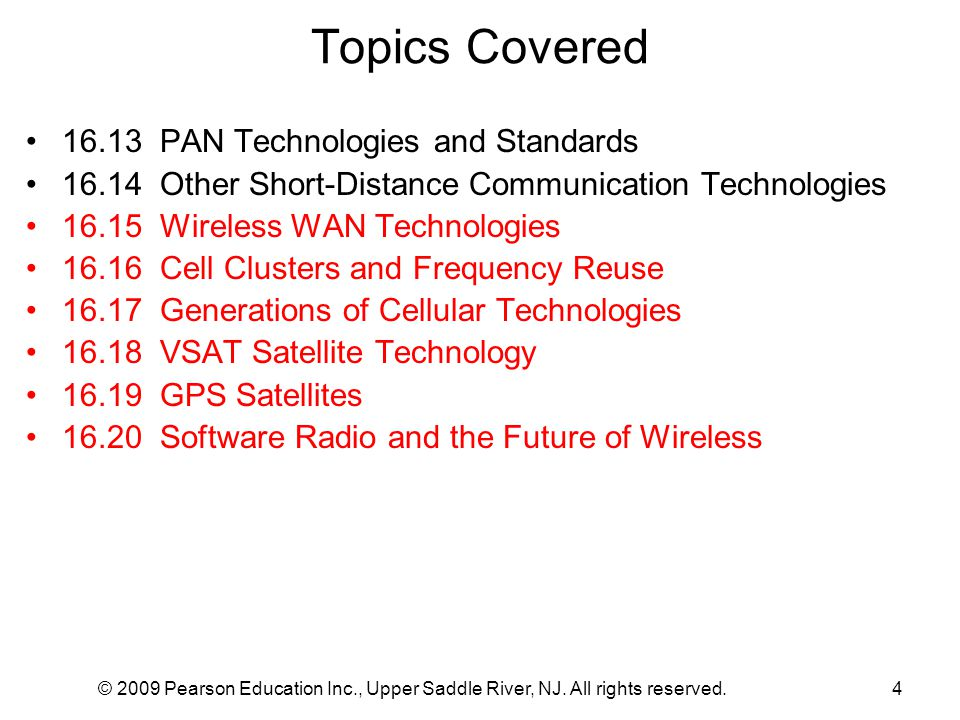 Topics Covered 16.13 PAN Technologies and Standards