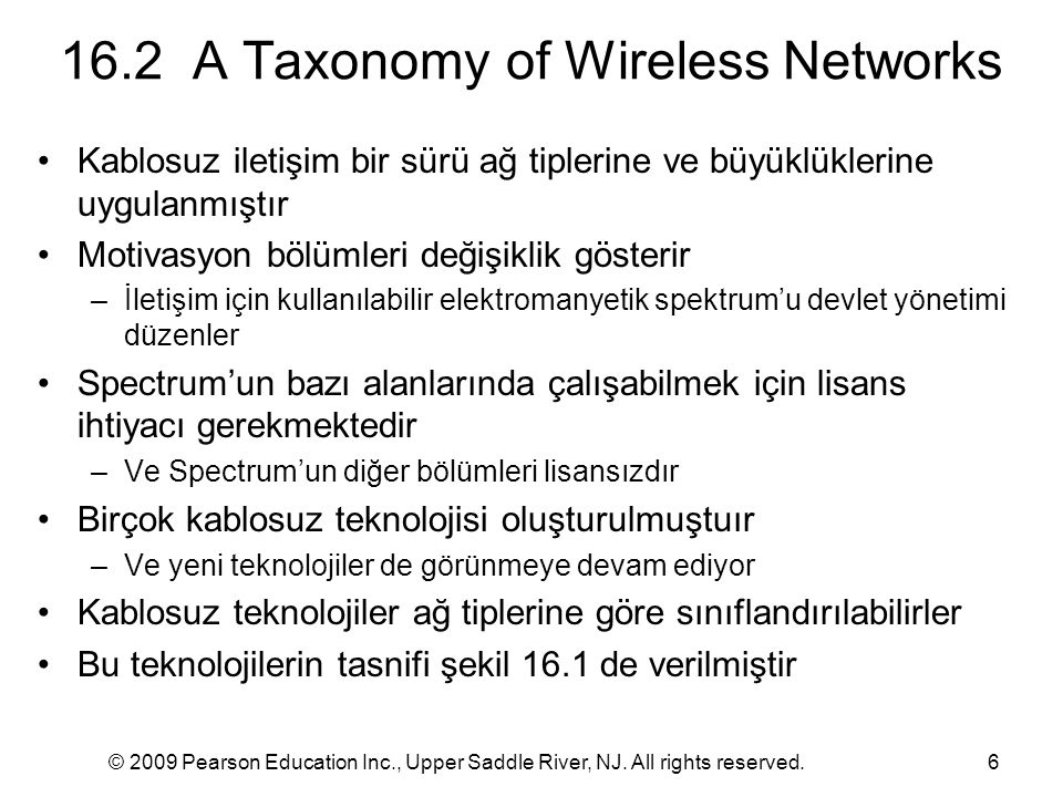 16.2 A Taxonomy of Wireless Networks