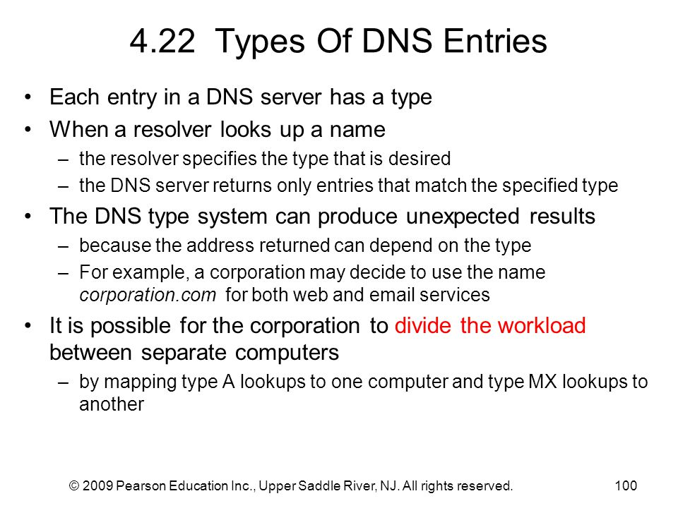 4.22 Types Of DNS Entries Each entry in a DNS server has a type